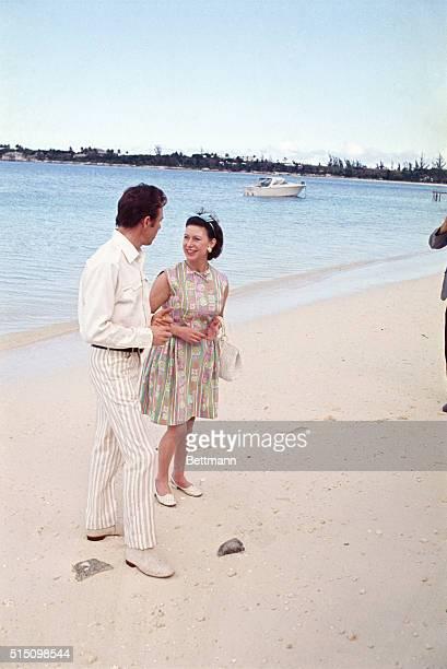 Princess Margaret and Lord Snowdon on Bahamas beach