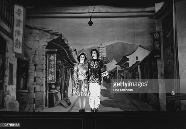 Princess Margaret and Princess Elizabeth both in costume pictured during a royal pantomime production of 'Aladdin' at Windsor Castle Berkshire Great...