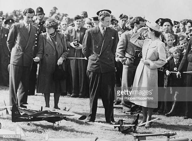 Princess Margaret and RAF officer Group Captain Peter Townsend at the Queen's Cup competition for model aircraft at Langley Buckinghamshire June 1948