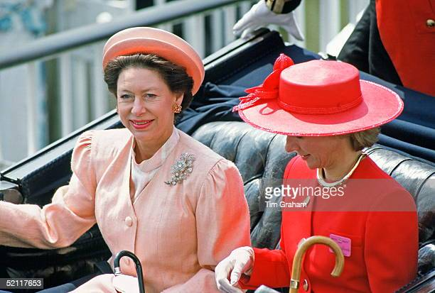 Princess Margaret And The Duchess Of Gloucester In A Carriage At The Ascot Races