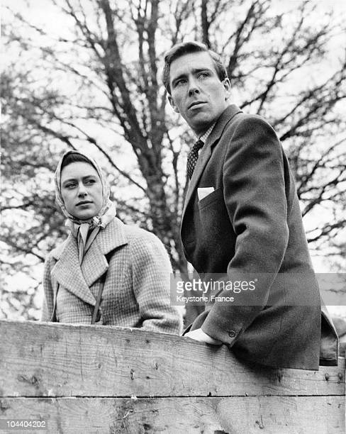 Princess MARGARET and Tony ARMSTRONGJONES watching the Cross Country competition from a cart in Badmington