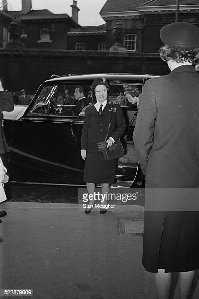 Princess Margaret arrives at The Girl Guides Association to be met by Derek ParkerBowles 27th October 1964