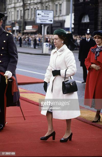 Princess Margaret arrives at Westminster Pier in London to greet Queen Beatrix of the Netherlands on November 16 1982 at the start of the Dutch...