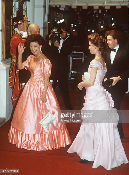 Princess Margaret arrives with her children Lady Sarah ArmstrongJones and David Lord Linley at the Royal Opera House for a special performance to...