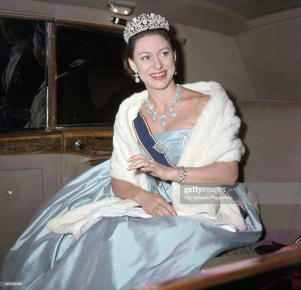 Princess Margaret arriving at a State banquet at the Australian Embassy in London on 19th May 1966.