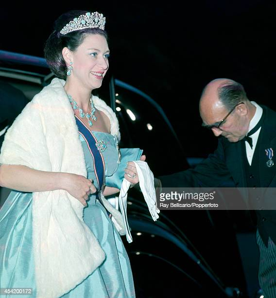 Princess Margaret arriving for a State banquet at the Australian Embassy in London on 19th May 1966