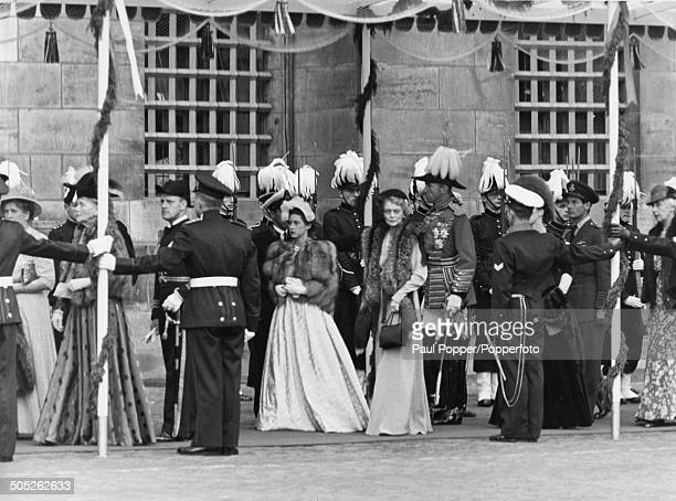 Princess Margaret at the New Church for the inauguration of Queen Juliana, Amsterdam, Netherlands, 6th September 1948. RAF officer Group Captain...