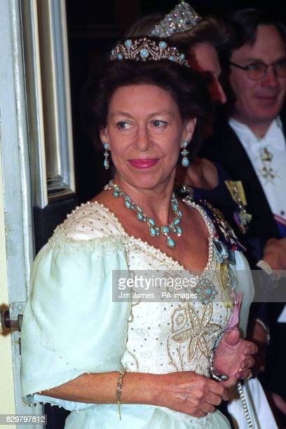 Princess Margaret before entering the banqueting room at the Portuguese embassy in London