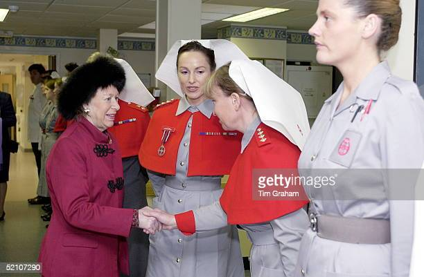 Princess Margaret Colonel In Chief Of The Queen Alexandra's Royal Army Nursing Corps Visiting The Ministry Of Defence Hospital Unit In Frimley Park...