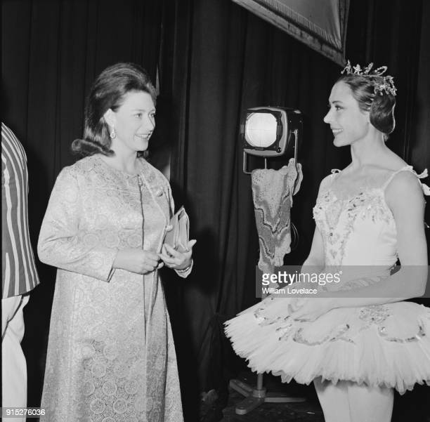 Princess Margaret Countess of Snowdon and Lithuanianborn British prima ballerina Svetlana Beriosova at the Adelphi Theatre gala ballet performance...