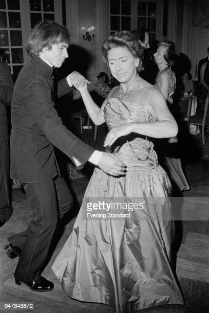 Princess Margaret Countess of Snowdon and Rudolf Nureyev dancing together at a party 8th June 1977