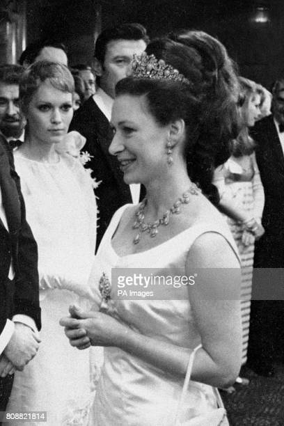 Princess Margaret Countess of Snowdon in the foyer of the Odean Theatre Leicester Square London at the royal film performance of The Taming of the...