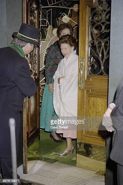 Princess Margaret, Countess of Snowdon leaves The Ivy restaurant in Covent Garden, London, 28th March 1996.