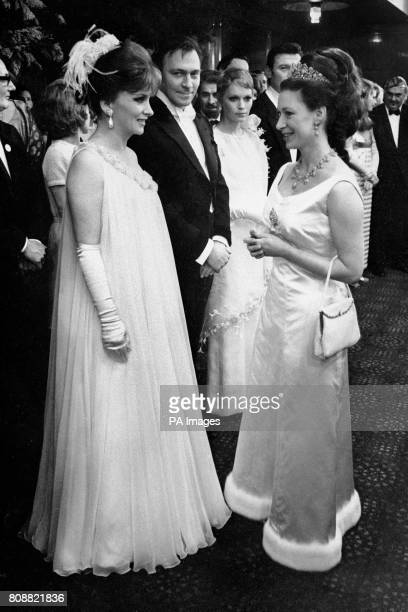 Princess Margaret Countess of Snowdon meets Italian actress Gina Lollobrigida in the foyer of the Odean Theatre Leicester Square London at the royal...