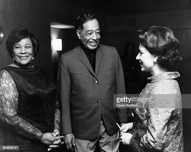 Princess Margaret, Countess of Snowdon meets with American jazz artists Ella Fitzgerald and Duke Ellington backstage at the Royal Festival Hall in...