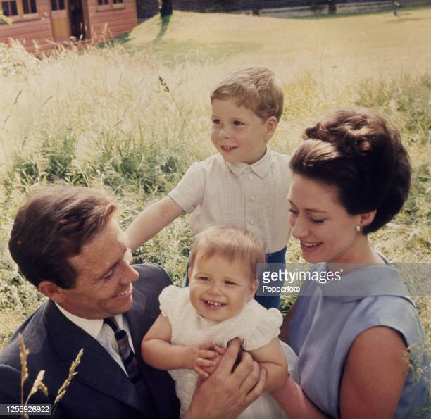 Princess Margaret Countess of Snowdon posed with her husband Antony ArmstrongJones 1st Earl of Snowdon and their children David ArmstrongJones...