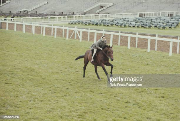 Princess Margaret, Countess of Snowdon rides a horse in a race involving members of the British royal family during the Royal Ascot race meeting at...