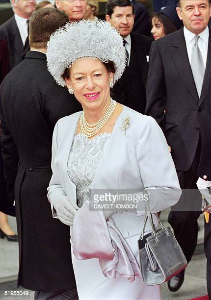 Princess Margaret Countess of Snowdon smiles 14 May 1996 at London's Waterloo station waiting the French President Jacques Chirac at the start of his...