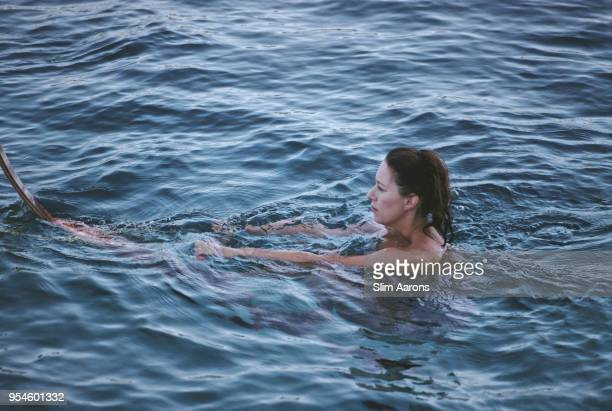 Princess Margaret Countess of Snowdon swimming while on holiday in Costa Smeralda Sardinia Italy August 1987