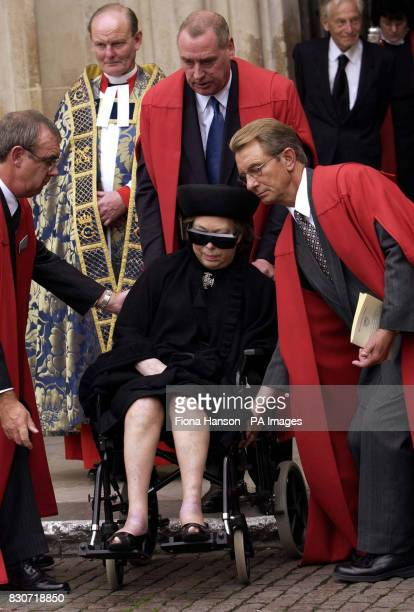 Princess Margaret departing Westminster Abbey central London in a wheelchair after attending the memorial service of founder of the Royal Ballet Dame...