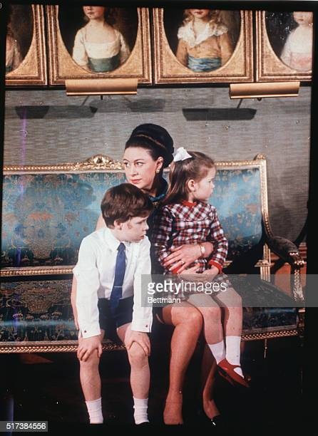 Princess Margaret is shown here with her two children, Viscount Linley and Lady Sarah Armstrong-Jones at Windsor Castle, during recent filming of the...