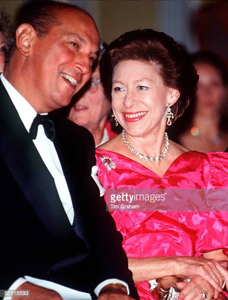 Princess Margaret Laughing With Dress Designer Oscar De La Renta During A Fashion Show In Aid Of The Nspcc At Claridges Hotel In London