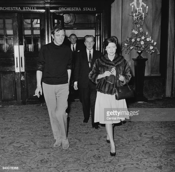 Princess Margaret leaves the Royal Opera House in London with ballet dancer John Cranko after a press conference held for Cranko 4th February 1966