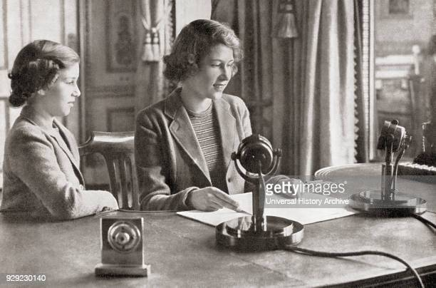 Princess Margaret left and Princess Elizabeth future Queen Elizabeth II right broadcasting to the children of the empire 13h October 1940 Princess...