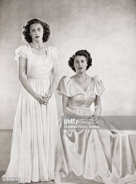 Princess Margaret, left, and Princess Elizabeth, future Queen Elizabeth II, right, in 1946. Princess Margaret, Margaret Rose, 1930 – 2002, aka...