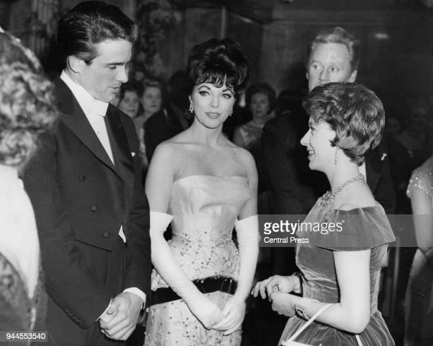 Princess Margaret meets actors Warren Beatty Joan Collins and Van Johnson at a the premiere of the film 'The Facts of Life' at the Odeon Leicester...