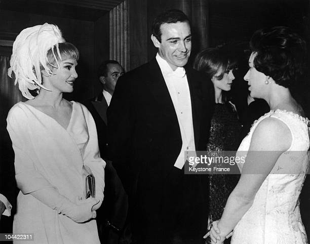 Princess Margaret Meets Diane Cilento And Sean Connery At The Royal Filma Premier At The Odeon