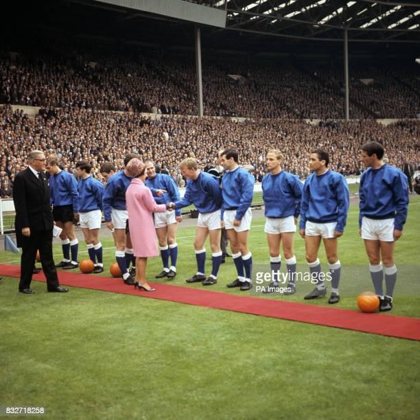Princess Margaret meets Everton team members before the FA Cup Final at Wembley