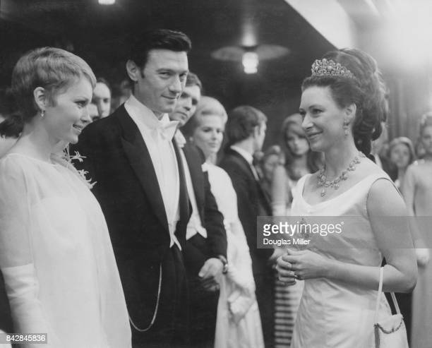 Princess Margaret meets Lithuanianborn actor Laurence Harvey and actress Mia Farrow at the Royal Film Performance of the film 'The Taming of the...
