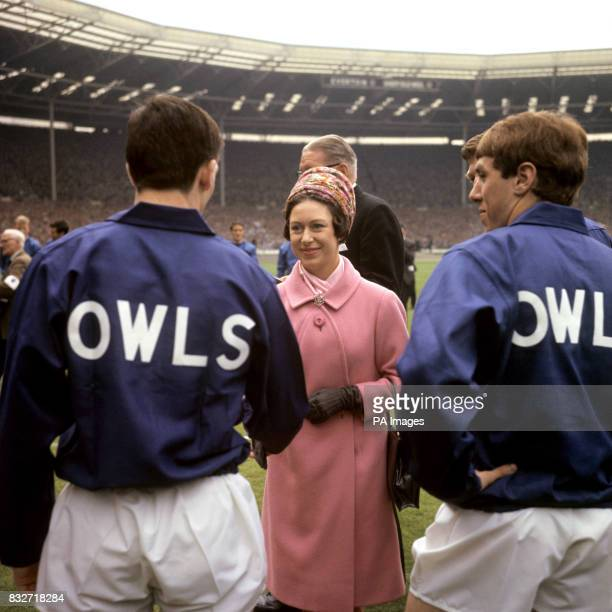 Princess Margaret meets players of Sheffield Wednesday before the FA Cup Final at Wembley against Everton