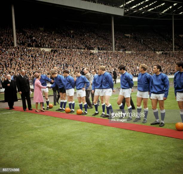 Princess Margaret meets the Everton team before the match Brian Labone with Princess Margaret goalkeeper Gordon West Tommy Wright Colin Harvey Ray...