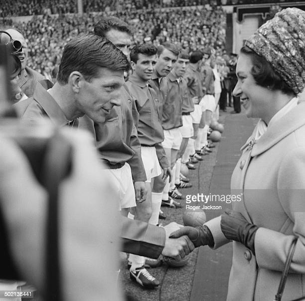 Princess Margaret meets the players before kick off at the F.A. Cup Final match between Everton F.C. And Sheffield Wednesday, Wembley Stadium,...
