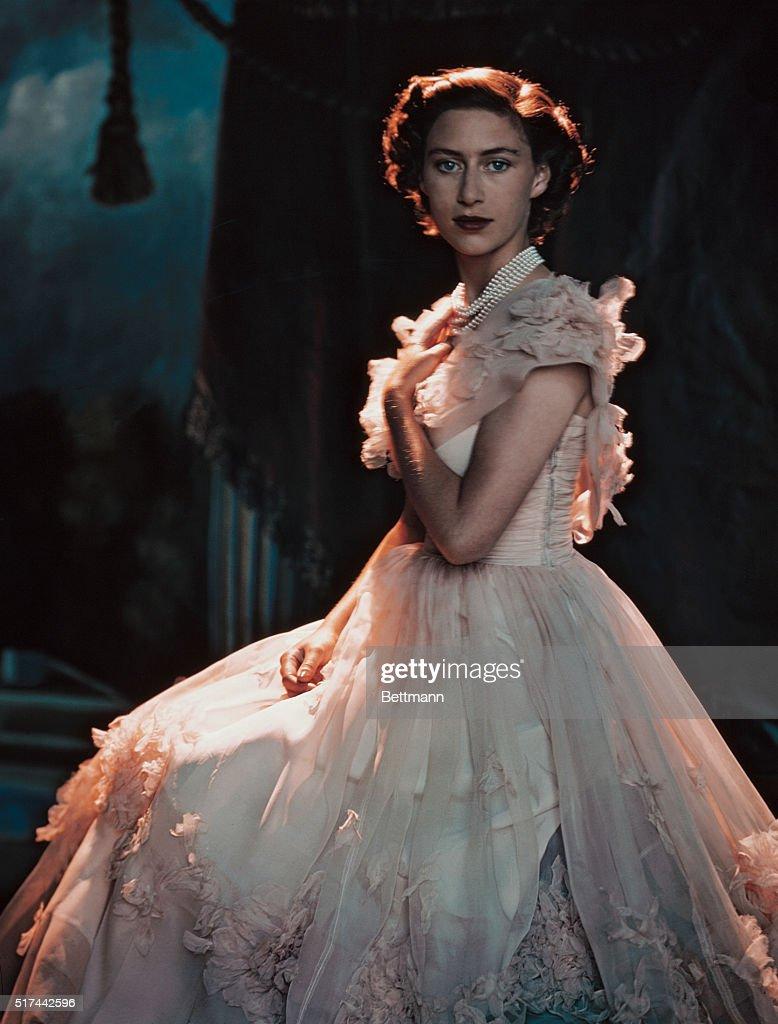 Princess Margaret Rose Wearing White Dress : News Photo