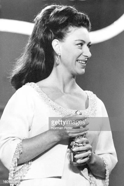 Princess Margaret presenting a Tony Award at the Mark Hellinger Theatre New York 20th April 1969