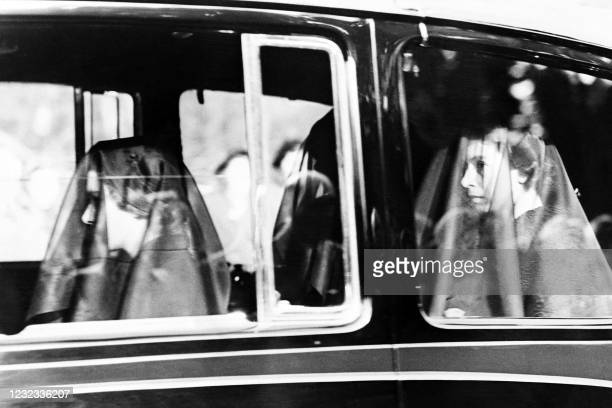 Princess Margaret , Queen Elizabeth and the Queen mother following the cortege fron Sandringham house, to Wolferton station, en route for London on...