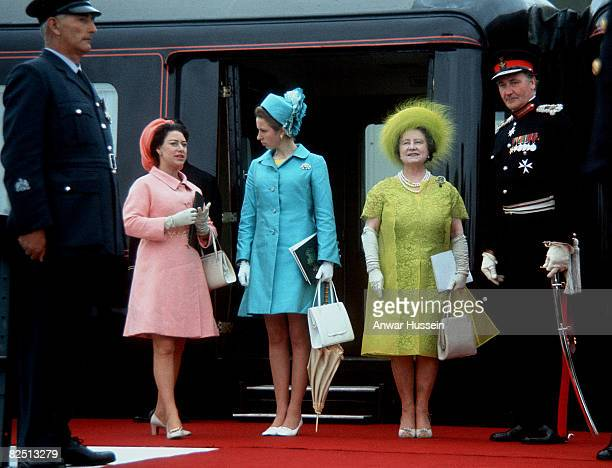 Princess Margaret, Queen Elizabeth II and The Queen Mother is seen at the investiture of Prince Charles, Prince of Wales on July 1, 1969 in...