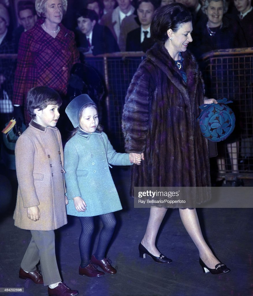 Princess Margaret returning from Sandringham to Liverpool Street Station in London with her children, Lord Linley (left) and Lady Sarah Armstrong-Jones, on 14th January 1969.