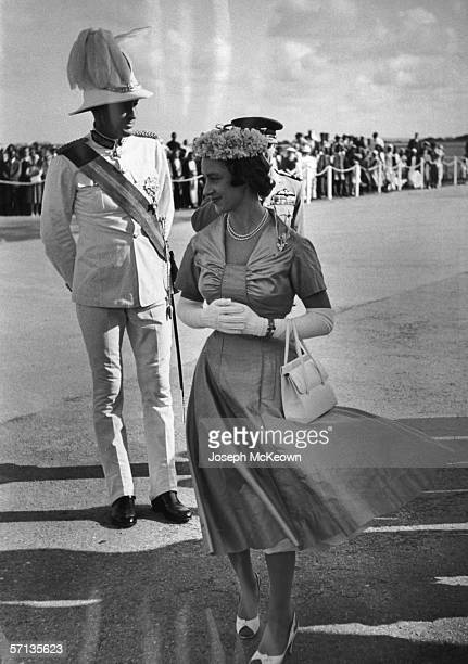 Princess Margaret Rose arrives at Port Reitz Airport in Mombasa at the start of her east African tour 1st October 1956 On the left is Sir Evelyn...