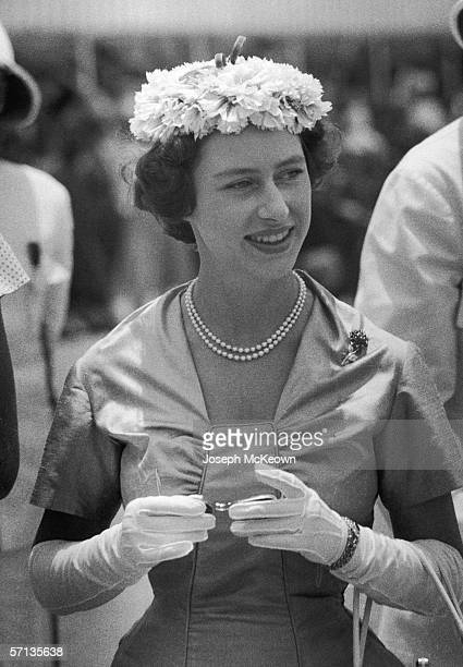 Princess Margaret Rose attends a tribal gathering or 'baraza' at Tabora in Tanganyika during her east African tour, 22nd October 1956. Original...