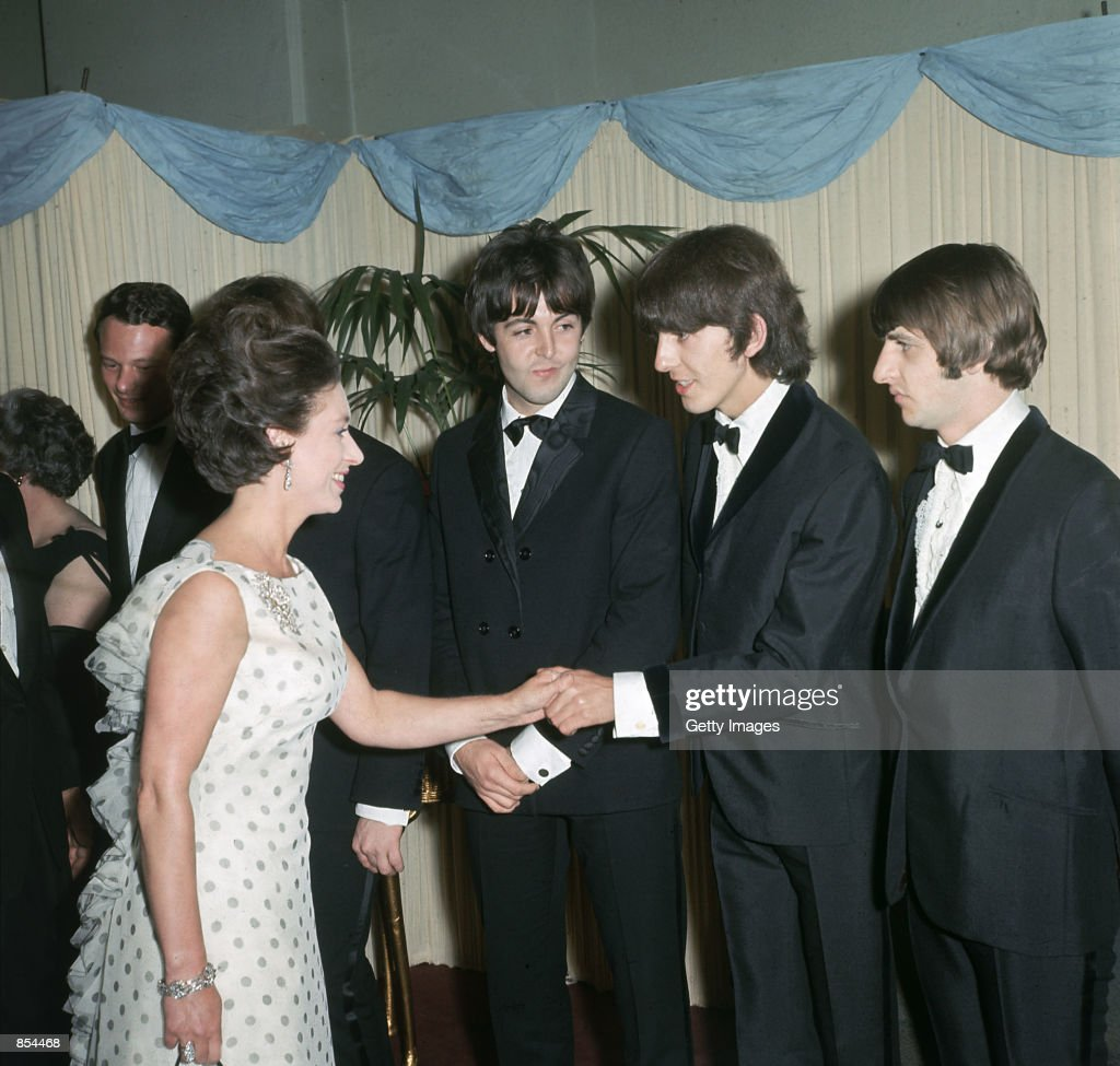 Princess Margaret Shakes Hands With George Harrison Paul McCartney And Ringo Starr Of The British