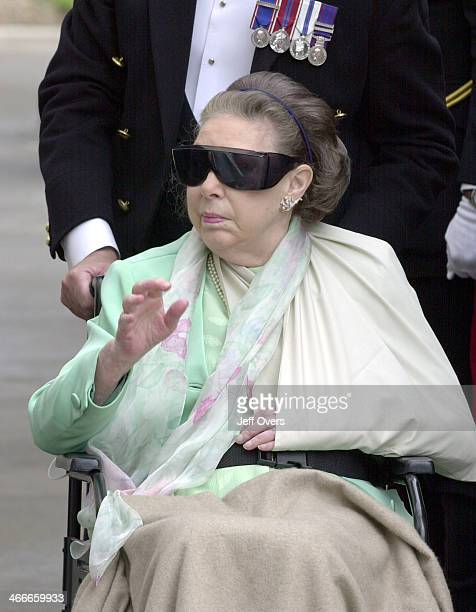 Princess Margaret suffering from her stroke outside Clarence House to celebrate the Queen Mothers 101st birthday