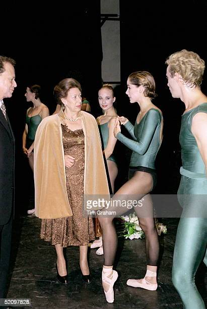Princess Margaret Talking With Ballerina Darcey Bussell After The Royal Ballet's Opening Performance At The New Sadler's Wells Theatre