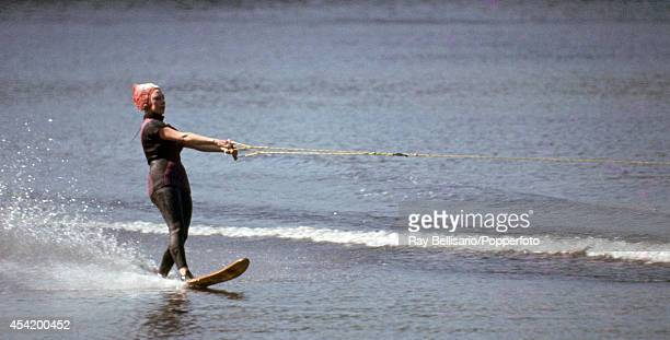 Princess Margaret waterskiing at Sunninghill Park Windsor on 28th May 1966 This image is one of a series taken by Ray Bellisario who was credited...
