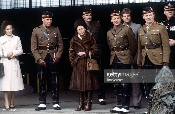 Princess Margaret Wearing A Fur Coat And Hat On A Very Cold Day Visiting The Royal Highland Fusiliers In West Germany She Is Their Colonelinchief...