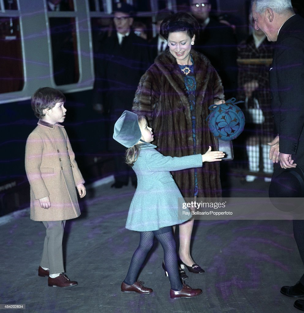 Princess Margaret with her children, Lord Linley and Lady Sarah Armstrong-Jones, returning from Sandringham to Liverpool Street station, London, on 14th January 1969.