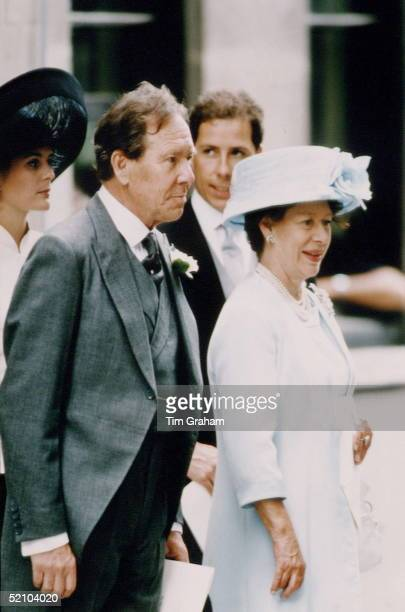 Princess Margaret With Her Exhusband Lord Snowdon At The Wedding Of Their Daughter Lady Sarah Armstrongjones To Daniel Chatto At St Stephen Walbrook...